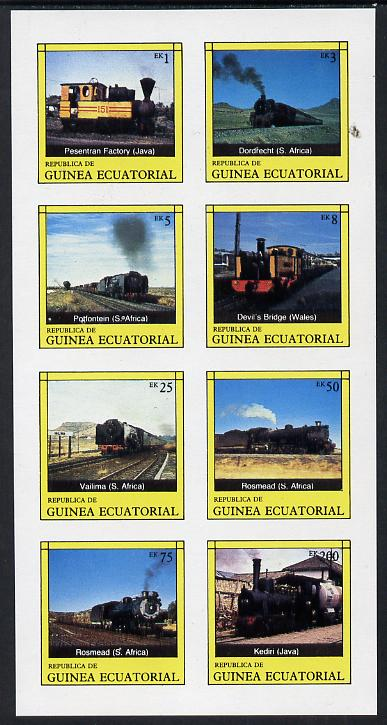 Equatorial Guinea 1977 Locomotives complete imperf set of 8 values (Mi 1145-52B) unmounted mint