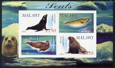 Malawi 2010 Seals imperf sheetlet containing 4 values unmounted mint