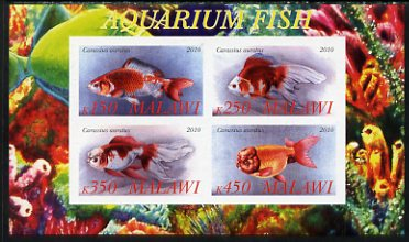 Malawi 2010 Aquarium Fish imperf sheetlet containing 4 values unmounted mint, stamps on fish