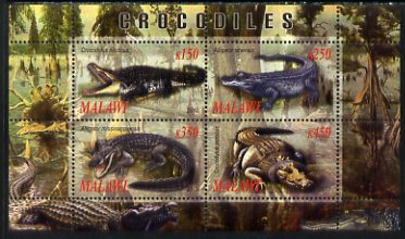 Malawi 2010 Crocodiles perf sheetlet containing 4 values unmounted mint