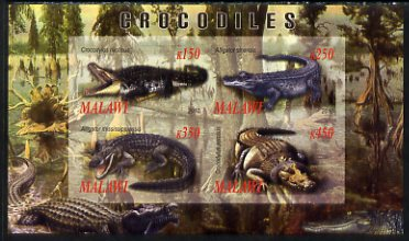 Malawi 2010 Crocodiles imperf sheetlet containing 4 values unmounted mint