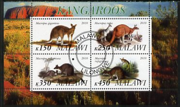 Malawi 2010 Kangaroos perf sheetlet containing 4 values fine cto used