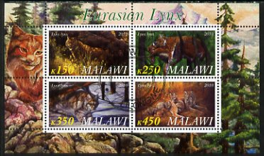 Malawi 2010 Lynx perf sheetlet containing 4 values fine cto used