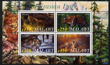 Malawi 2010 Lynx perf sheetlet containing 4 values unmounted mint