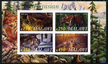 Malawi 2010 Lynx imperf sheetlet containing 4 values unmounted mint