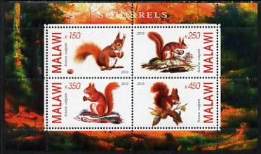 Malawi 2010 Squirrels perf sheetlet containing 4 values unmounted mint