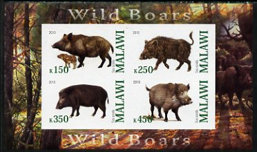 Malawi 2010 Wild Boars imperf sheetlet containing 4 values unmounted mint