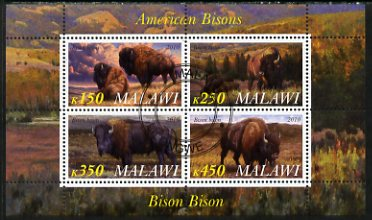 Malawi 2010 American Bison perf sheetlet containing 4 values fine cto used