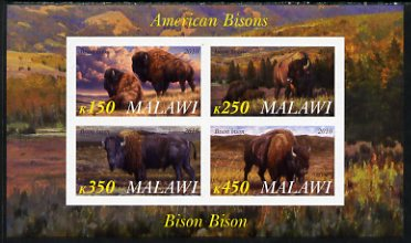 Malawi 2010 American Bison imperf sheetlet containing 4 values unmounted mint