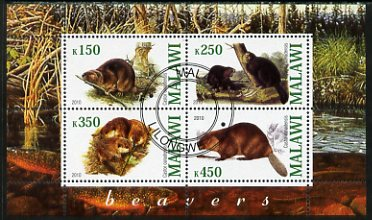 Malawi 2010 Beavers perf sheetlet containing 4 values fine cto used