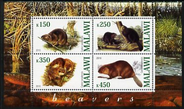 Malawi 2010 Beavers perf sheetlet containing 4 values unmounted mint