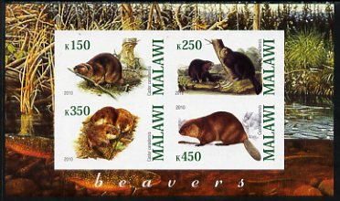 Malawi 2010 Beavers imperf sheetlet containing 4 values unmounted mint