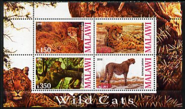Malawi 2010 Wild Cats perf sheetlet containing 4 values unmounted mint