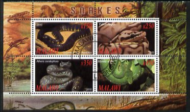 Malawi 2010 Snakes perf sheetlet containing 4 values fine cto used
