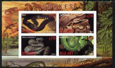 Malawi 2010 Snakes imperf sheetlet containing 4 values unmounted mint