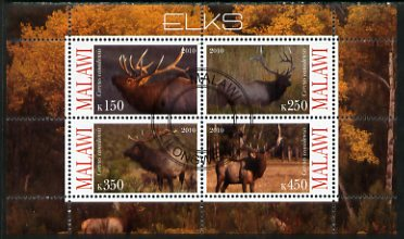 Malawi 2010 Elks perf sheetlet containing 4 values fine cto used