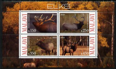Malawi 2010 Elks perf sheetlet containing 4 values unmounted mint
