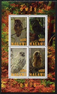 Malawi 2010 Owls perf sheetlet containing 4 values unmounted mint