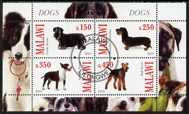 Malawi 2010 Dogs perf sheetlet containing 4 values fine cto used