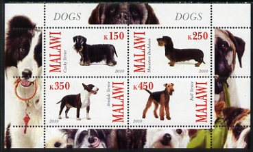 Malawi 2010 Dogs perf sheetlet containing 4 values unmounted mint