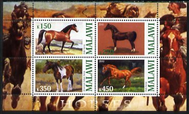 Malawi 2010 Horses perf sheetlet containing 4 values unmounted mint