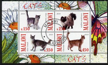 Malawi 2010 Domestic Cats perf sheetlet containing 4 values fine cto used