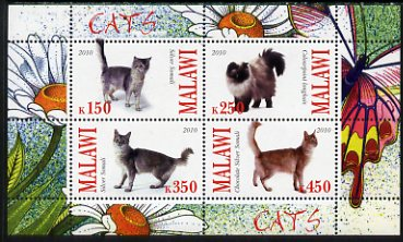 Malawi 2010 Domestic Cats perf sheetlet containing 4 values unmounted mint