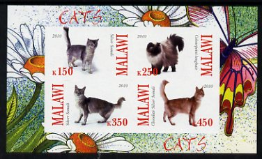 Malawi 2010 Domestic Cats imperf sheetlet containing 4 values unmounted mint