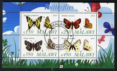 Malawi 2010 Butterflies #1 perf sheetlet containing 4 values fine cto used