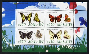 Malawi 2010 Butterflies #1 perf sheetlet containing 4 values unmounted mint