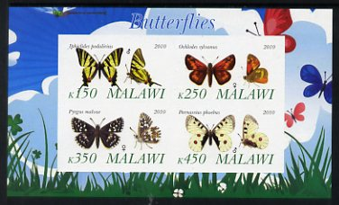 Malawi 2010 Butterflies #1 imperf sheetlet containing 4 values unmounted mint