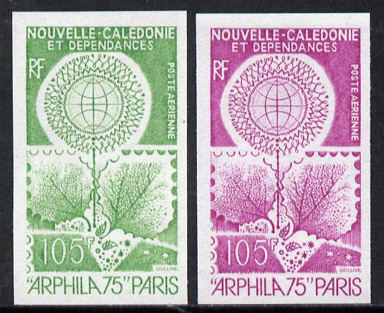 New Caledonia 1975 'Arphila '75' Stamp Exhibition two different IMPERF colour trial proofs (SG 554)