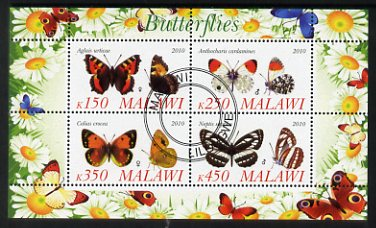 Malawi 2010 Butterflies #2 perf sheetlet containing 4 values fine cto used