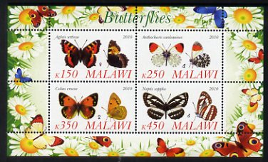 Malawi 2010 Butterflies #2 perf sheetlet containing 4 values unmounted mint
