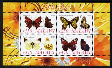 Malawi 2010 Butterflies #3 perf sheetlet containing 4 values unmounted mint