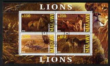 Malawi 2010 Lions perf sheetlet containing 4 values fine cto used
