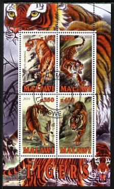 Malawi 2010 Tigers perf sheetlet containing 4 values fine cto used