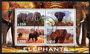 Malawi 2010 Elephants perf sheetlet containing 4 values fine cto used