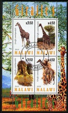 Malawi 2010 Giraffes perf sheetlet containing 4 values fine cto used