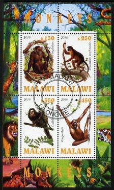 Malawi 2010 Monkeys perf sheetlet containing 4 values fine cto used