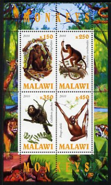 Malawi 2010 Monkeys perf sheetlet containing 4 values unmounted mint