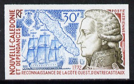 New Caledonia 1974 Discovery 30f (Entrecasteaux, Ship & Map) imperf proof from limited printing, SG 542*