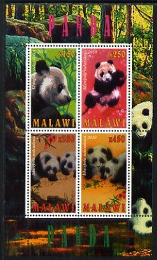 Malawi 2010 Pandas perf sheetlet containing 4 values unmounted mint