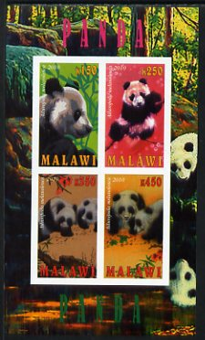Malawi 2010 Pandas imperf sheetlet containing 4 values unmounted mint