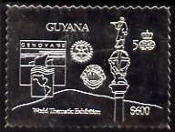 Guyana 1992 'Genova 92' International Thematic Stamp Exhibition $600 perf embossed in silver foil featuring Statue of Columbus plus Rotary & Lions International Logos