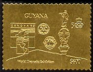 Guyana 1992 'Genova 92' International Thematic Stamp Exhibition $600 perf embossed in gold foil featuring Statue of Columbus plus Rotary & Lions International Logos
