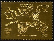 Guyana 1992 'Genova 92' International Thematic Stamp Exhibition $600 perf embossed in gold foil featuring Cat, Dog, Rabbit, Polar Bear, Butterfly & Dinosaur