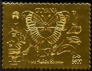 Guyana 1992 'Genova 92' International Thematic Stamp Exhibition $600 perf embossed in gold foil featuring Butterfly, Mushroom, Penguin, Shell, Tortoise, Dolphin,Giraffe, Elephant & Dinosaur