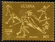 Guyana 1992 'Genova 92' International Thematic Stamp Exhibition $600 perf embossed in gold foil featuring Albertville & Barcelona Olympics and showing Fencing, Ice Hockey, Skiing, Baseball, Football & Ice Skating (Dancing)