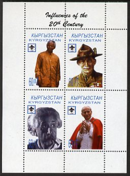 Kyrgyzstan 2000 Influences of the 20th Century sheetlet containing 4 values (Mandela, Baden Powel, Einstein & Pope) unmounted mint